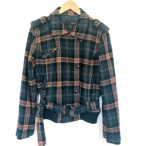 MNG by Mango Wool Navy Plaid Belted Moto Jacket
